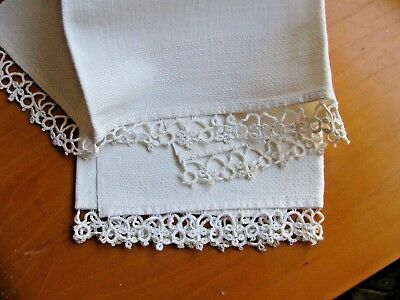 "Vintage Ivory Huck LINEN  TATTED LACE TOWEL Bath Hand 33"" X 18"""