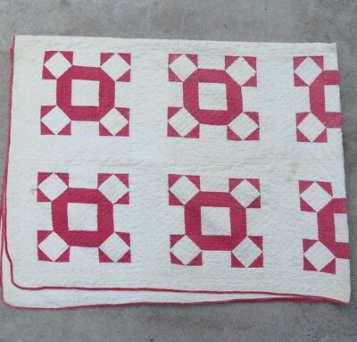 Antique 1900 Red White 9 Patch Variation Signature Quilt Hand Sewn Quilted 68x84