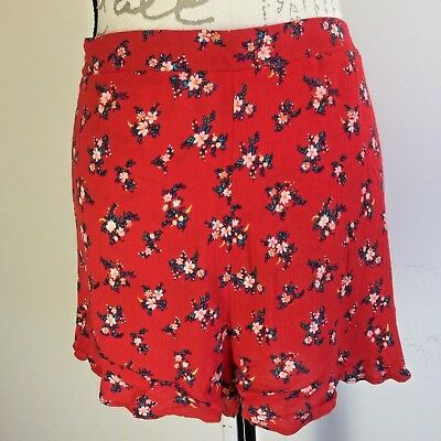 AEO American Eagle Outfitters Flounce Ruffle Shorts Red Stretchy Casual Size XL