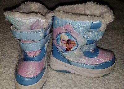 ce82e6637f1f Toddler Girl Disney Frozen Themed Winter Snow Boot Sparkle Faux Fur Lined  Sz 7-8
