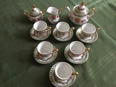 LIMOGES CHINA 16 Pc CHILDS MINIATURE TEA SET SERVICE FOR 6FLOWERS ON TEAL