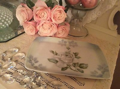 Vintage Perfume Jewelry Tray Vanity Dresser Cottage Chic Shabby White Rose