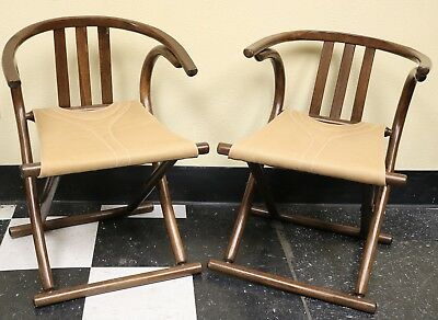 Pair of Vintage MCM Thonet Bentwood Folding Wishbone Camp Chairs