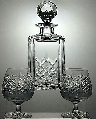 "Edinburgh Crystal ""highland"" Cut Square Decanter With Brandy Glasses Set Of 2"