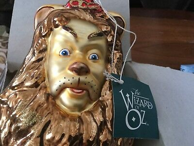 Kurt Adler Polonaise 1998 Wizard Of Oz Cowardly Lion Glass Ornament.  New.
