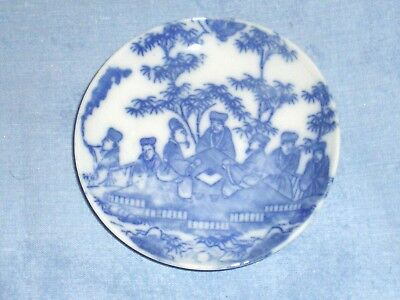 Beautiful Antique Chinese Small Blue & White Plate w/ Royal Court Elders EUC!!!