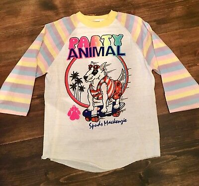 Vintage 80's Spuds Mackenzie Kids Medium Baseball Tshirt Party Animal Rainbow