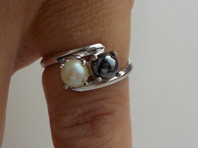 Sterling Silver Hematite & Faux Pearl Ring Metal Detecting Find
