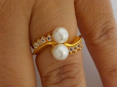 Beautiful Ring With Faux Pearls & Clear Stones Metal Detecting Find.