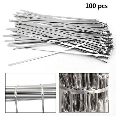 "100pcs Stainless Steel Metal Cable Wire Zip Tie Wrap Self-Locking 8"" 12"" 16"" 18"""