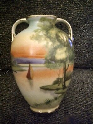Antique 2 Handle Nippon Hand Painted Beautiful Scenic Vase 6.5 in. Very nice