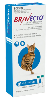 Bravecto Spot on for Medium cats >2.8kg - 6.25kg pack of 2 Tick and Flea control