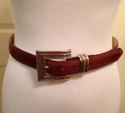 Vintage 1997 Metal Buckle Chico's  Brown Genuine Leather Belt Women's Sz S