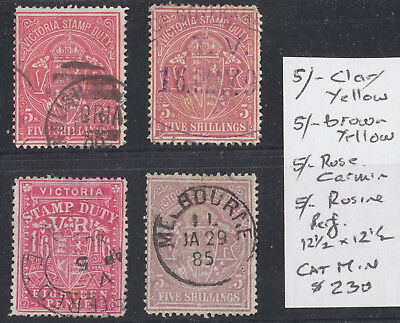 AUSTRALIA  1884-96 VICTORIA 5/-x 4 Shades of DUTY STAMPS  Fine Used