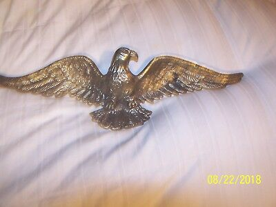 "Vintage Brass Spread Wings American Eagle Wall Hanger 19"" Wide"