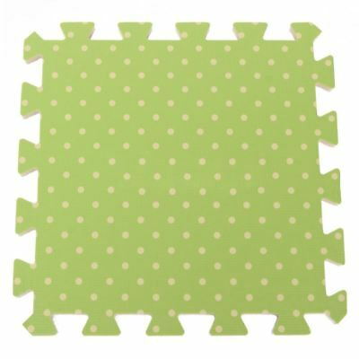 9PCS Kid Safety Play Rug EVA Foam Floor Puzzle Pad Work Gym, Green Dots K2A3