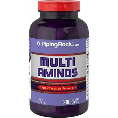 Multi Aminos 1000 mg 200 Coated Caplets Wide Spectrum 18 Key Amino Acids