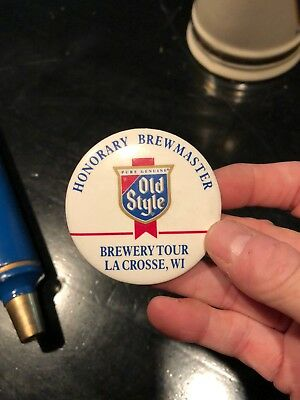 Vintage Old Style Beer Company Pinback Button Lacrosse WI Honorary Brewmaster