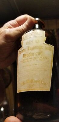 Large 1890 Amber H. K. Mulford Opium Aqueous Deoderized Bottle Original Labels