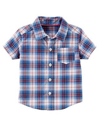 Carter's Boy ~Red, White & Blue Plaid Button-Down 100%Cotton Shirt ~3M~New w/tag