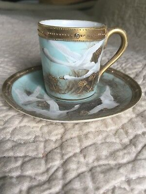 Nippon Hand Painted Moriage Raised Gold FLYING GEESE SWAN Demitasse Cup/Saucer