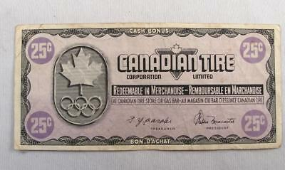 Vintage Canadian Tire 1976 Olympics Money 25 Cents Note  # Mn1438070