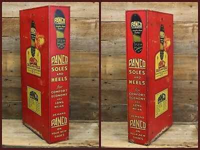 Vintage PANCO Soles Heels for Shoes Boots DISPLAY Sign H.D. BEACH Co Coshocton O