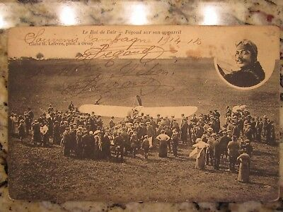 Early WWI biplane postcard signed by famous aviator Adolphe Pegoud (1889-1915)
