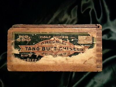 Vintage Wood No 400 Tang Butt Chisels Sliding Lid Box Dovetailed