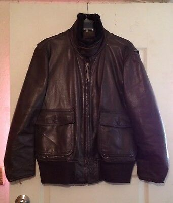1960s Vietnam RARE Vtg G-1 USN LEATHER Flight BOMBER JACKET Mens Size L Brown