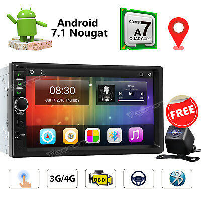 Double 2DIN Car GPS Stereo Android 7.1 Navigation Touch Screen 4G USB + Camera W