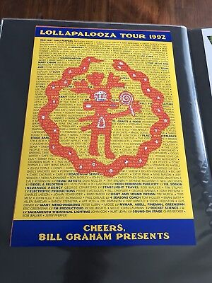 1992 Lollapalooza Poster Pearl Jam Red Hot Chili Peppers Soundgarden Bill Graham