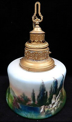 Antique Scenic Painted Glass Shade Hanging Lamp Light French Country Victorian