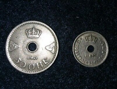 1947 Norway 50 Ore & 10 Ore Coins - ALT FOR NORGE