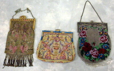 Lot Of 3 Antique Beaded Purses With Ornate  Frames And Fringe Floral Roses