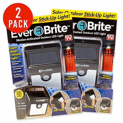 2 Pack Ever Brite Led Outdoor  Light-AS ON TV Everbrite Solar Powered & Wireless