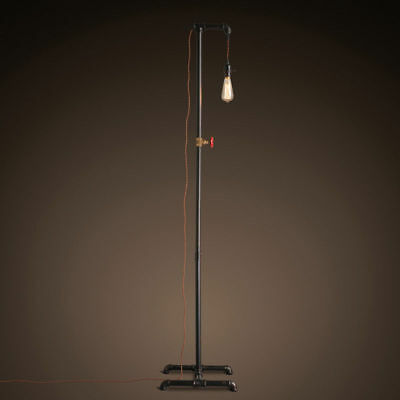 Industrial Rust Iron Water Pipe Floor Lamp & Hanging Single Exposed Edison Bulb