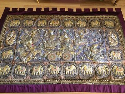 Vintage X-Large Thai, Burmese Kalaga, Wall Hanging, Sequins, Elephants, Soldiers