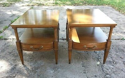 Century furniture co.wood end tables or night stands.Matching pair.single drawer
