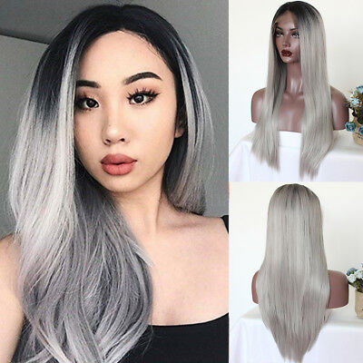 Women's Hair Platinum Ash Gray Front Lace Wigs Synthetic Heat Resistant Wig+Cap