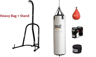 Everlast 70 Lb Heavy Bag Kit Gloves Wraps Boxing Mma Punching With Stand