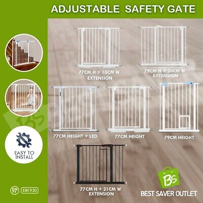 Height Adjustable Width Baby Pet Safety Gate Stair Barrier Extendsion 77-100CM