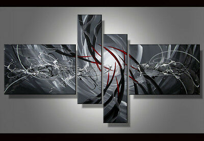 Hand-painted Modern Abstract Oil Painting on Canvas 4 Panel Wall Art Framed Ab15