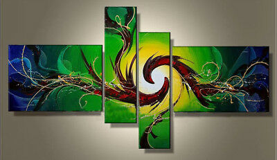 4 Panel Hand-painted Modern Abstract Oil Painting on Canvas Wall Art Framed Ab24