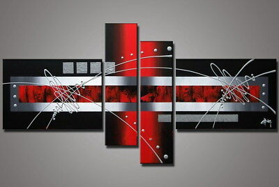 4 Panel Hand-painted Modern Abstract Oil Painting on Canvas Wall Art Framed Ab36
