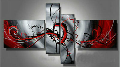 4 Panel Hand-painted Modern Abstract Oil Painting on Canvas Wall Art Framed Ab43