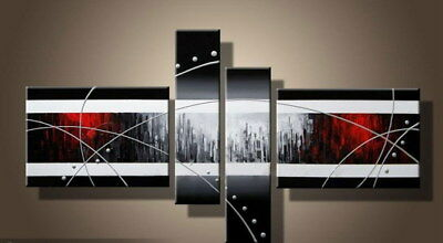 4 Panel Hand-painted Modern Abstract Oil Painting on Canvas Wall Art Framed Ab35