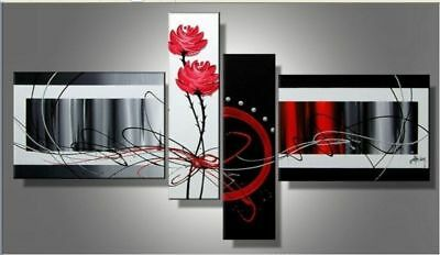 4 Panel Hand-painted Modern Abstract Oil Painting on Canvas Wall Art Framed Ab46