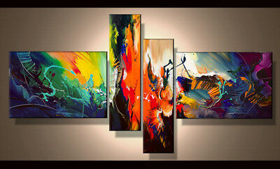 4 Panel Hand-painted Modern Abstract Oil Painting on Canvas Wall Art Framed Ab39