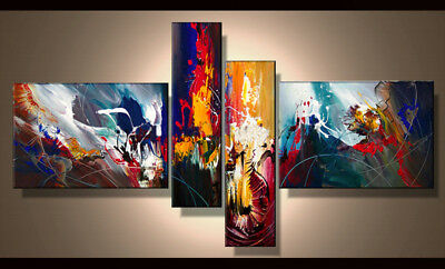 4 Panel Hand-painted Modern Abstract Oil Painting on Canvas Wall Art Framed Ab40